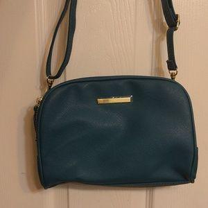 Dark Teal blue leather Crossbag
